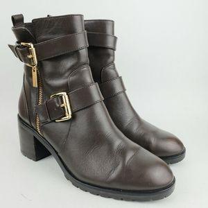 Michael Kors Brown Leather Chunky Heel Boots 6 1/2